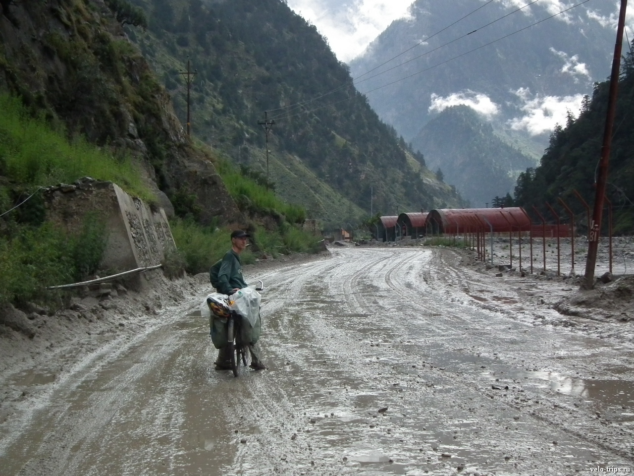 Sergey on the road Rekong Peo in Himalaya