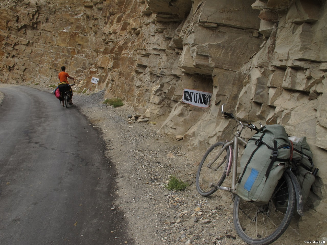 Road signs on the turn of the road in Himalaya