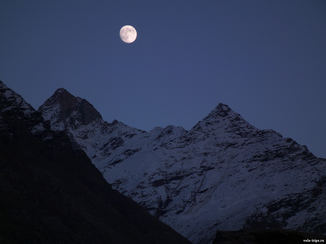 Mountains in the night under moonlight in Chandra valley, Himalaya
