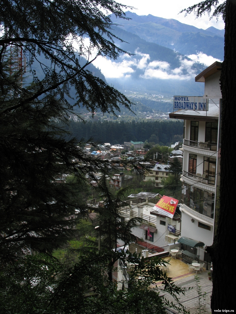 View on Manali from hill, India