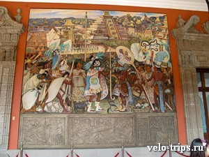 Mexico, Mural painting in National Palace.
