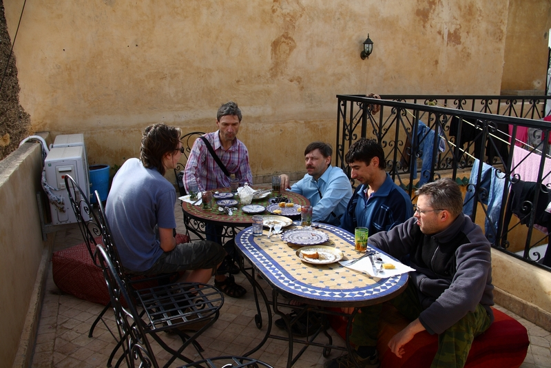 Morocco, Fes. Breakfast on the hotel roof.