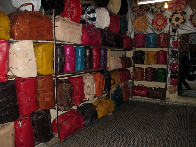 Morocco, Fes. Bags in leather tannings shop