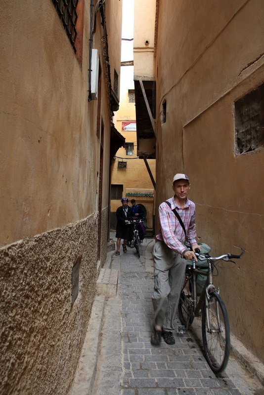 Morocco, Fes. Bicycle on the narrow street of medina