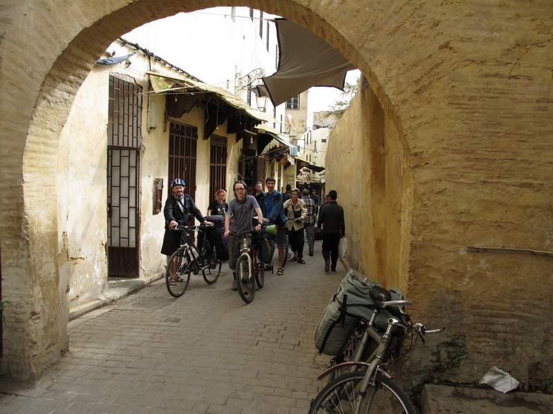 Morocco, Fes. Bicycle group on medina streets.