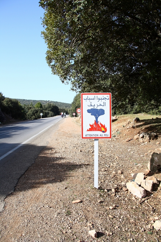 Morocco. Road to Ifrane. Sign - don't play with fire