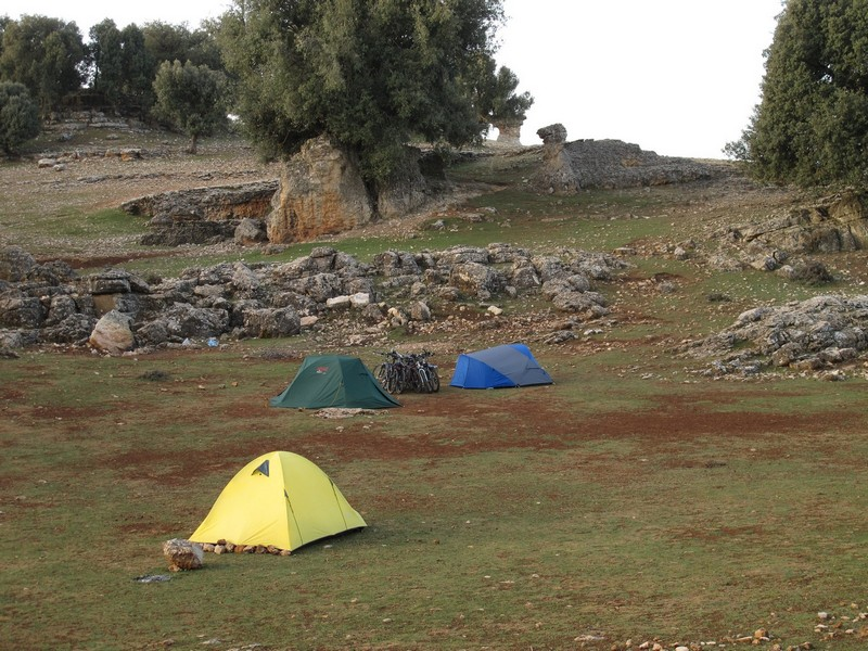 Morocco. Morning camping with tents and bicycles