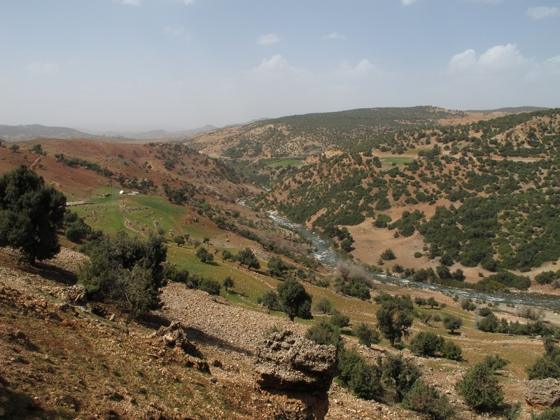 Morocco. River view from mountain road