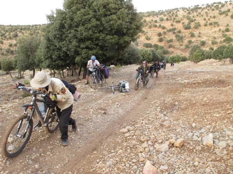 Morocco, Cirque du Jaffar. Bicycle climbing