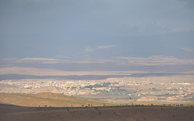 Morocco, Cirque du Jaffar. Midelt city view from mountain