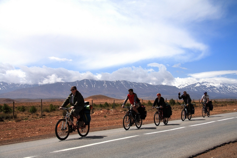 Morocco. Road, desert, snow mountains, blue sky