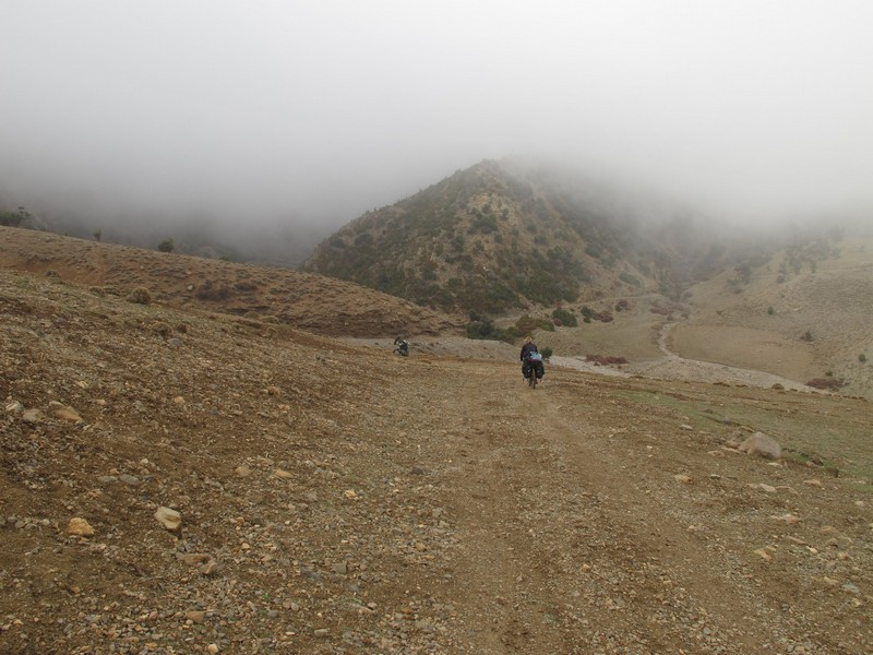 Morocco, Cirque du Jaffar. Mist falling from mountains