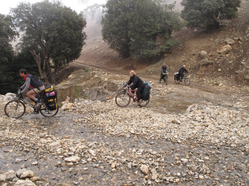 Morocco, Cirque du Jaffar. Force brook by bicycle