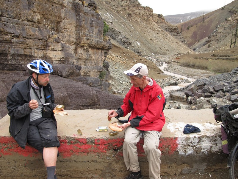 Morocco, High Atlas. Eating canned sardines
