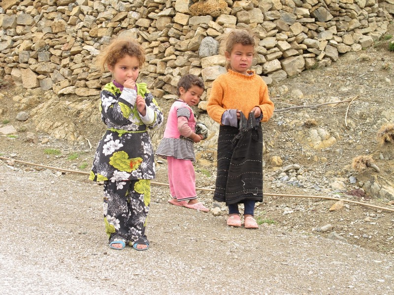 Morocco, Tagoudite. Children on the street.