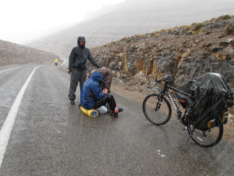 Morocco, High Atlas, Agoudal. Heavy rain, dressing socks.