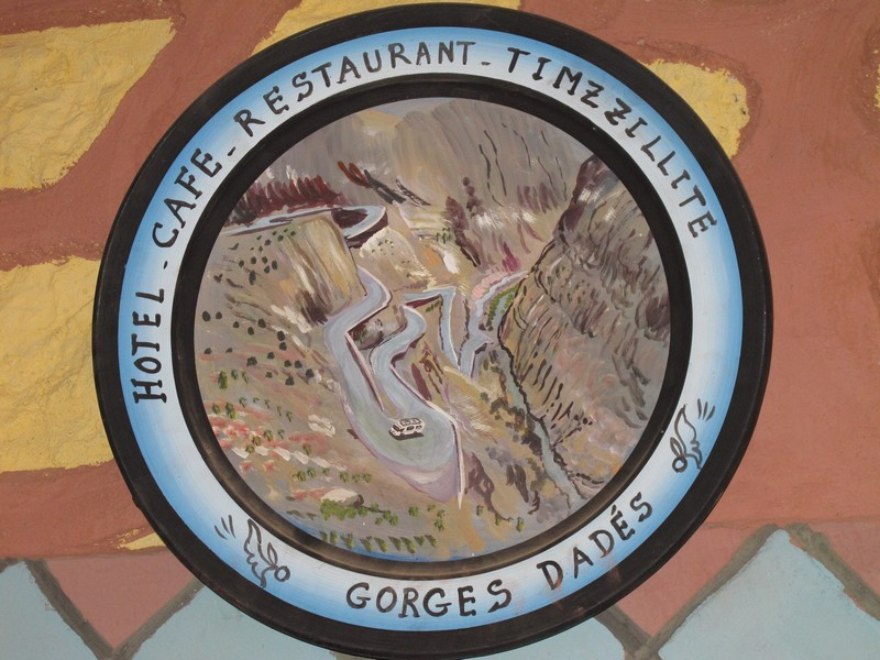 Morocco, Dades gorge. Plate on the cafe wall