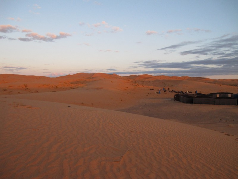 Morocco, Merzouga. Nomad tent camp in desert