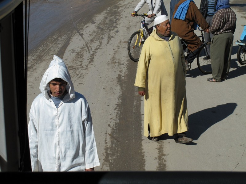 Morocco, Merzouga. Two berber man in national dressings