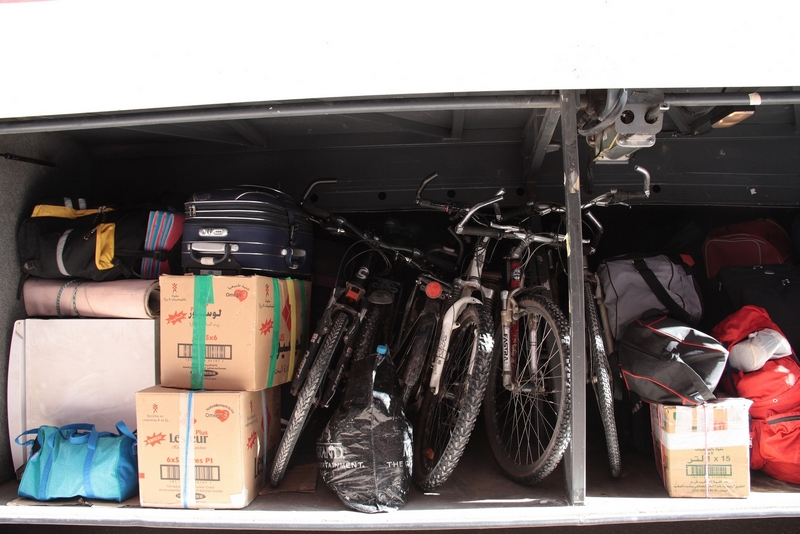Morocco, bicycles in bus luggage.