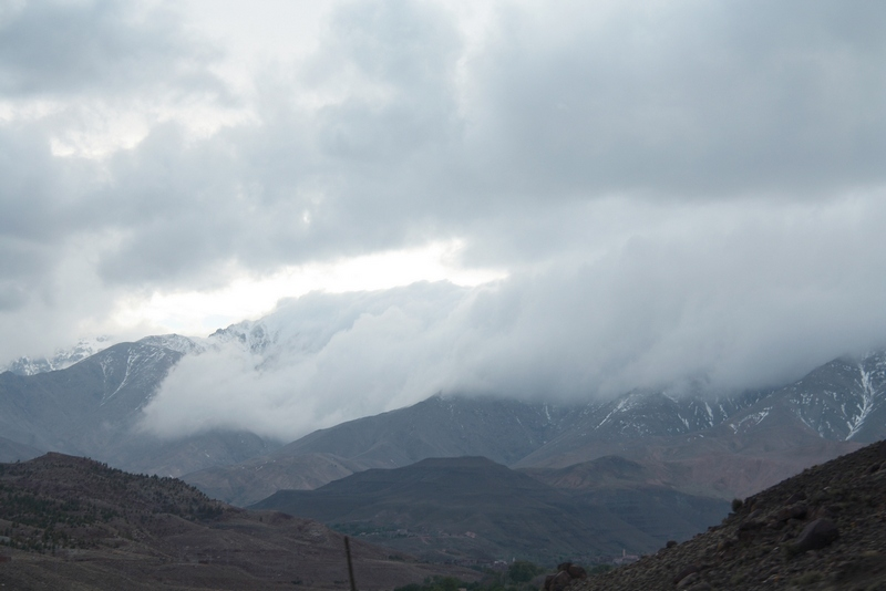 Morocco, Marrakesh. Mist on the mountains like blanket