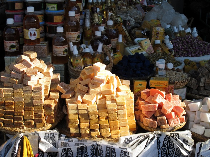 Morocco, Marrakesh. Argan soap and oil souvenirs