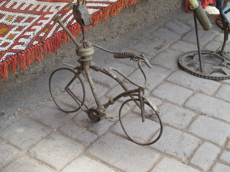 Morocco, Marrakesh. Bicycle model on market