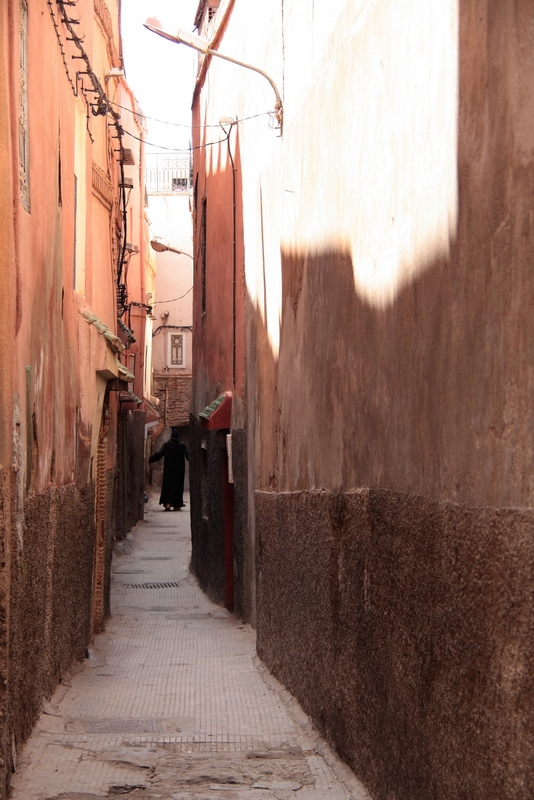 Morocco, Marrakesh. Narrow street