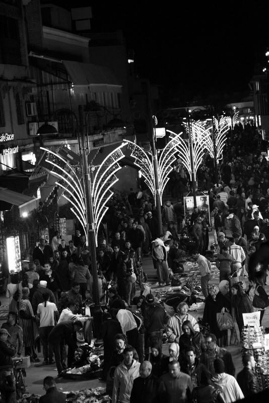 Morocco, Marrakesh. Night crowd street
