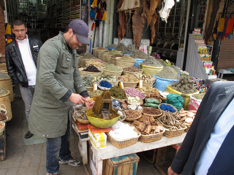 Morocco, Marrakesh. Spice shop on market