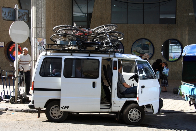 Morocco, Casablanca. Minibus loaded with bicycles