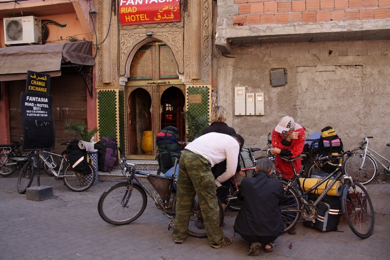 Morocco, Marrakesh. Repair bicycle near hotel