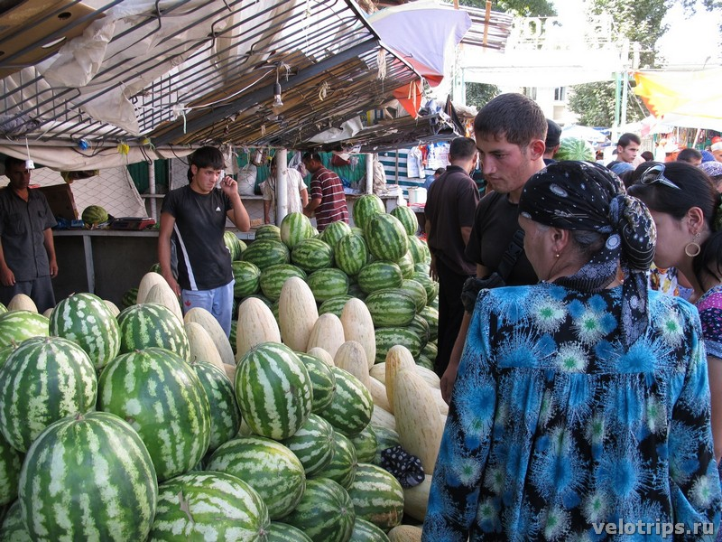 Tajikistan, Dushanbe. Watermelons and melons on market