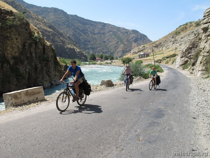 Tajikistan, Dushanbe. Bicycles along river.