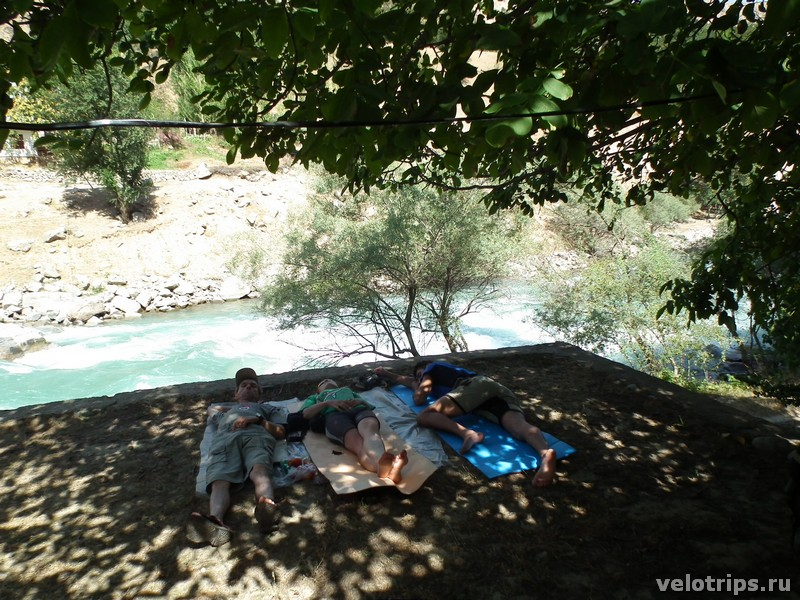 Tajikistan, Dushanbe. Midday sleeping under nut tree