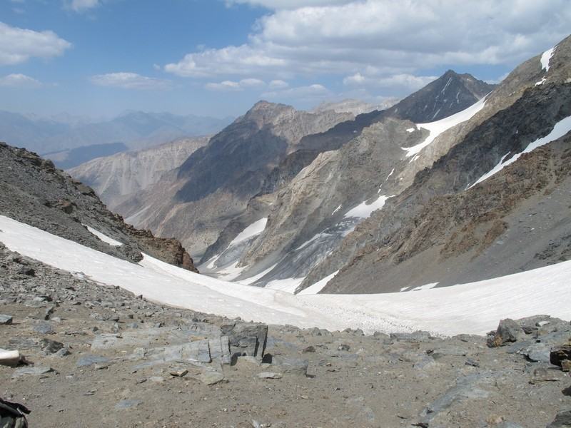 Tajikistan, Rost pass. View from top to glacier.