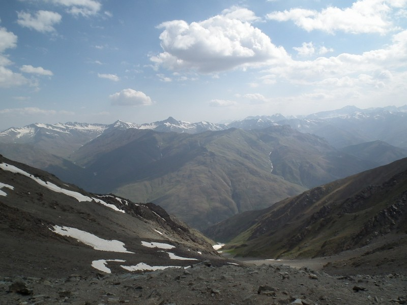 Tajikistan, Rost pass. View to Yagnob river from top