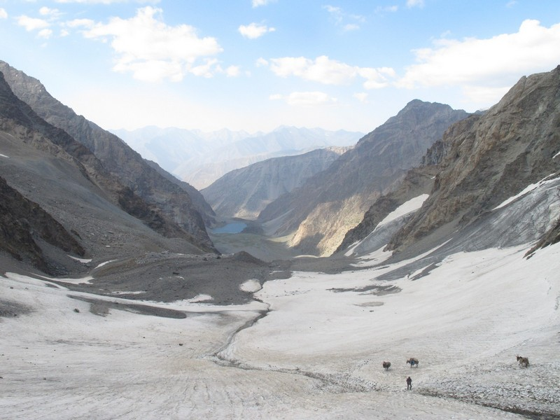 Tajikistan, Rost pass. Big glacier and lake view