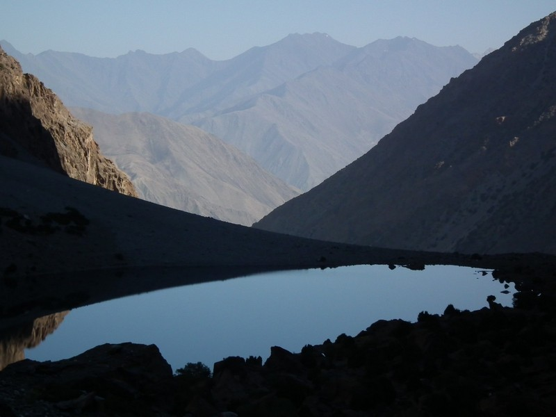Tajikistan, Rost pass. Evening lake view