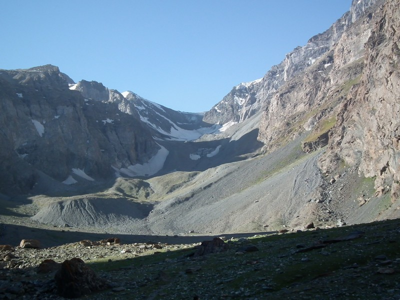 Tajikistan, Rost pass. Sunny morning view from bottom