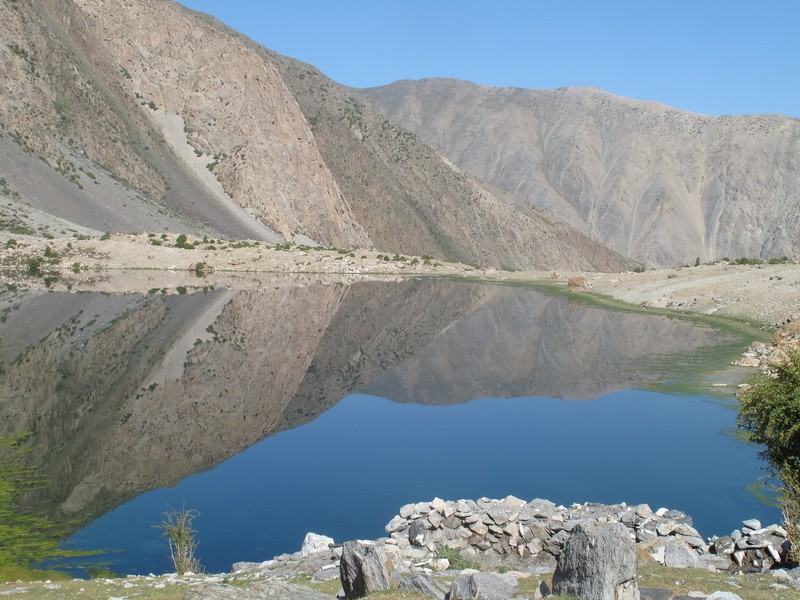 Tajikistan, Rost pass. Mountain lake