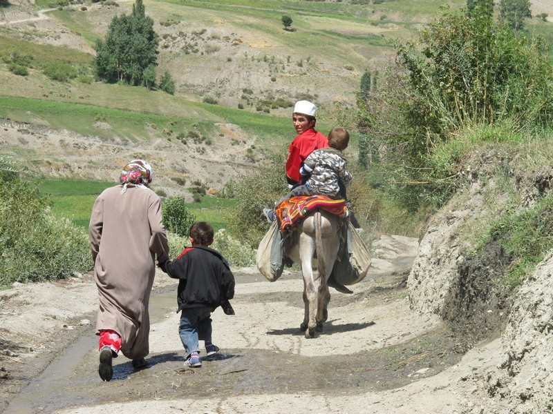 Tajikistan, Rost pass. Family with donkey