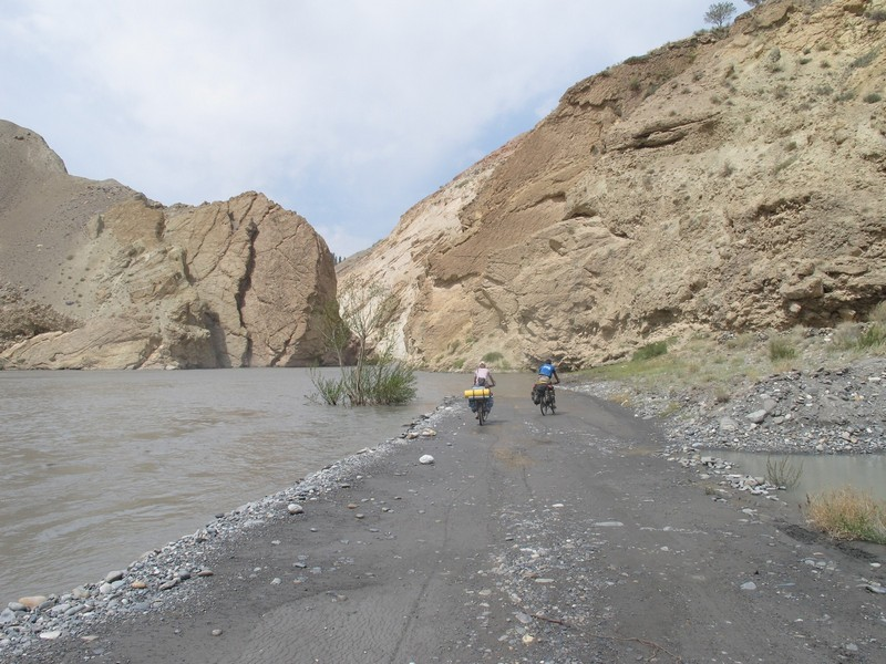 Tajikistan, Zeravshan river. Road dead end at river