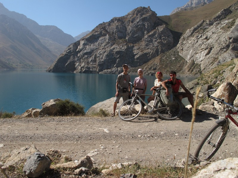 Marguzor lakes. Bicycle group on sixth lake