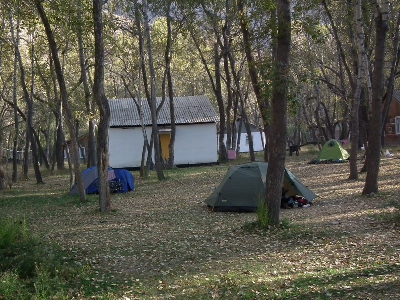 Iskanderkul lake. Camping place for tents