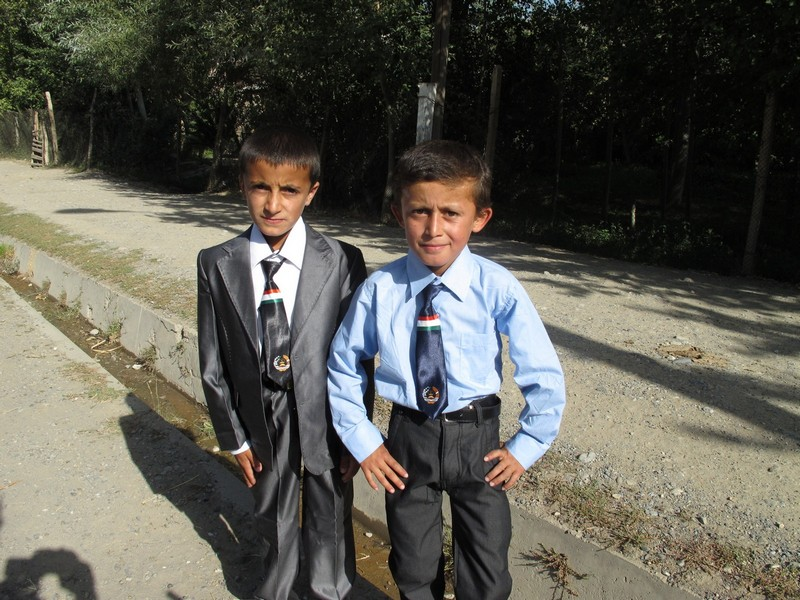 Tajikistan. Boys - pupils on 1st September